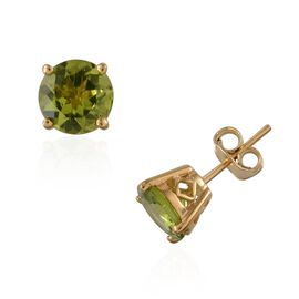 AA Hebei Peridot (Rnd) Stud Earrings (with Push Back) in 14K Gold Overlay Sterling Silver 4.000 Ct.