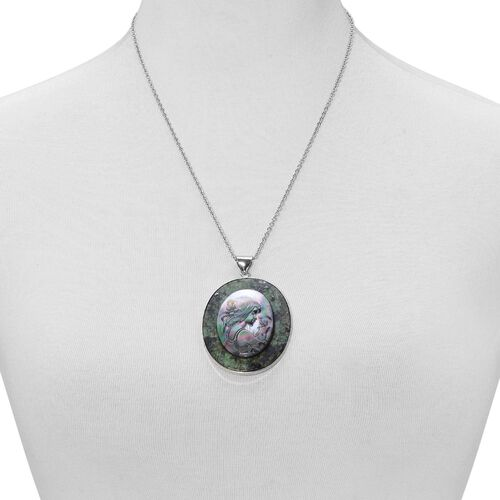 Jasper and Cameo Pendant With Chain (Size 5.5x4.5 Cm) in Silver Tone with Stainless Steel 150.000 Ct.