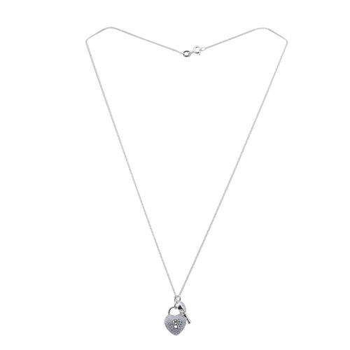 JCK Vegas Collection ELANZA AAA Simulated Diamond (Hrt) Lock and Key Pendant With Chain in Rhodium Plated Sterling Silver