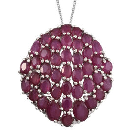 African Ruby (Ovl) Cluster Pendant With Chain in Platinum Overlay Sterling Silver 13.250 Ct.