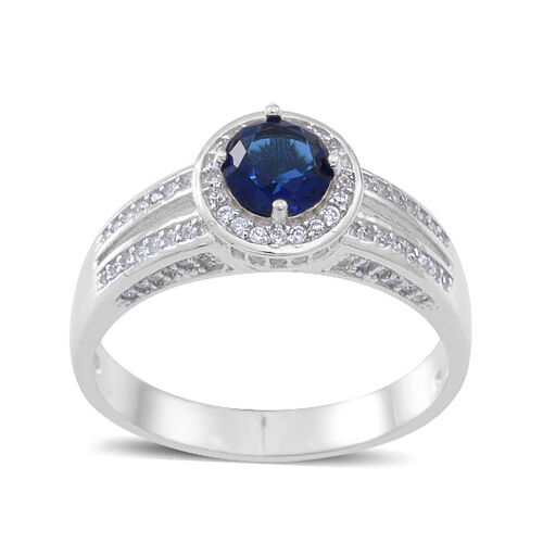 ELANZA AAA Simulated Blue Sapphire (Rnd), Simulated White Diamond Ring in Rhodium Plated Sterling Silver