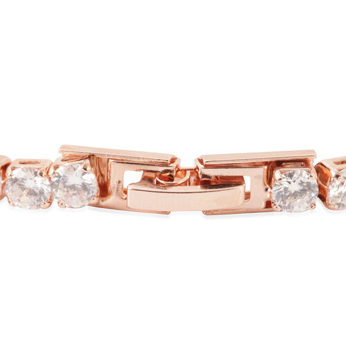 Set of 2 - AAA Simulated Diamond (Rnd) Tennis Bracelet (Size 7.5) in Silver and Rose Gold Bond