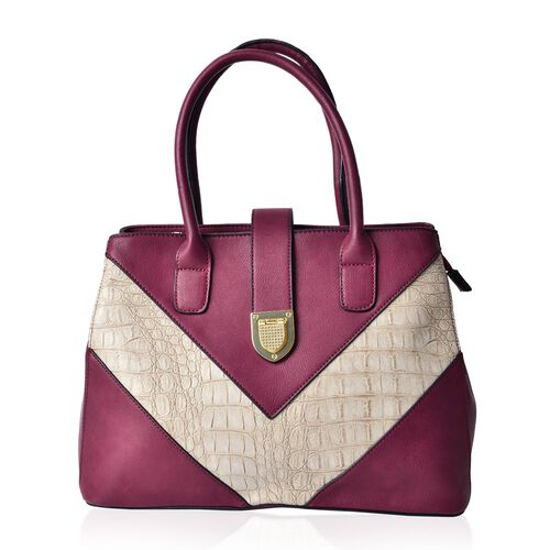 Karlie Elegant Burgundy V - Pattern Tote Bag with External Zipper Pocket (Size 35x25.5x15 Cm)