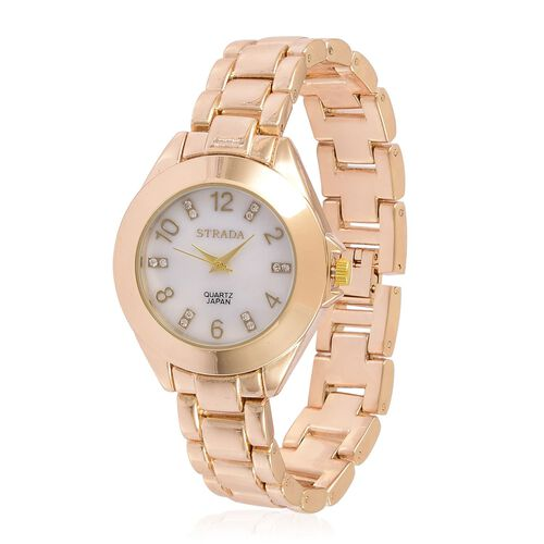 STRADA Japanese Movement White Austrian Crystal Studded MOP Dial Watch in Yellow Gold Tone with Stainless Steel Back