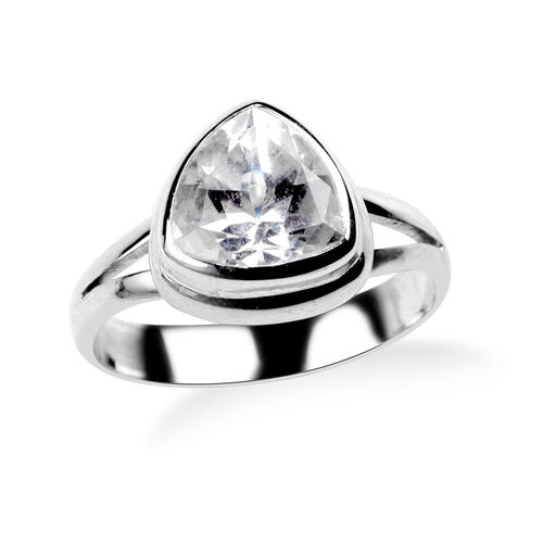 Royal Bali Collection White Topaz (Trl) Solitaire Ring in Sterling Silver 3.320 Ct.