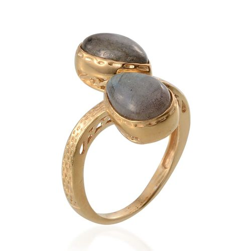Labradorite (Pear) Adjustable Ring in 14K Gold Overlay Sterling Silver 6.250 Ct.