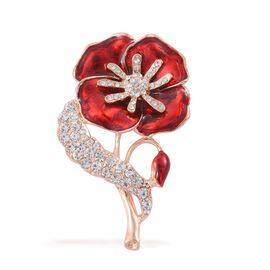 (Option 2) Stunning Bright White Austrian Crystal Floral and Leaf Enameled Brooch in Rose Gold Tone