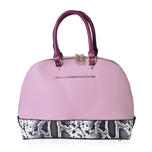 Black and White Colour Snake Skin Pattern Pink and Fuchsia Colour Tote Bag (Size 32.5x25x11.5 Cm)