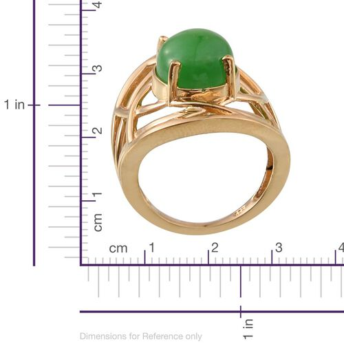 Green Jade (Ovl) Solitaire Ring in 14K Gold Overlay Sterling Silver 6.750 Ct.