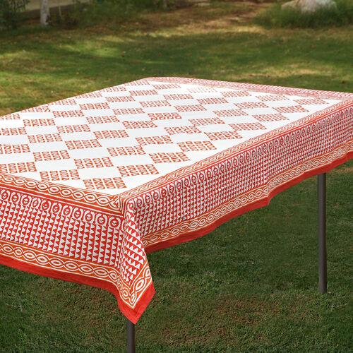 100% Cotton Orange and White Colour Hand Block Printed Table Cloth (Size 150x150 Cm)
