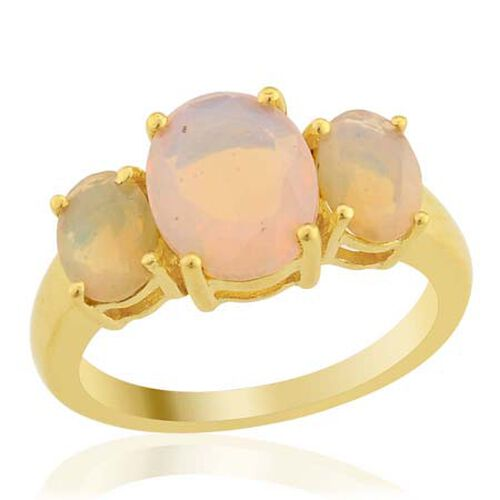 KARIS Collection - Ethiopian Welo Opal (Ovl 1.25 Ct) 3 Stone Ring in Gold Bond  2.00 Ct.