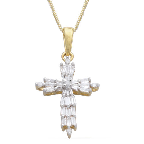 Diamond (Bgt) Cross Pendant With Chain in 14K Gold Overlay Sterling Silver 0.330 Ct.