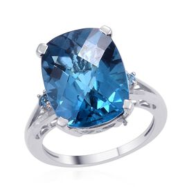 London Blue Topaz (Cush 12.00 Ct), Swiss Blue Topaz Ring in Platinum Overlay Sterling Silver 12.085 Ct.