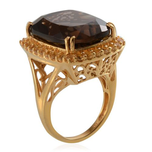 Brazilian Smoky Quartz (Cush 18.50 Ct), Citrine Ring in 14K Gold Overlay Sterling Silver 19.650 Ct.