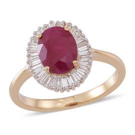 ILIANA 18K Y Gold Rare Size AAA Burmese Ruby (Ovl 2.50 Ct), Diamond Ring 3.000 Ct.