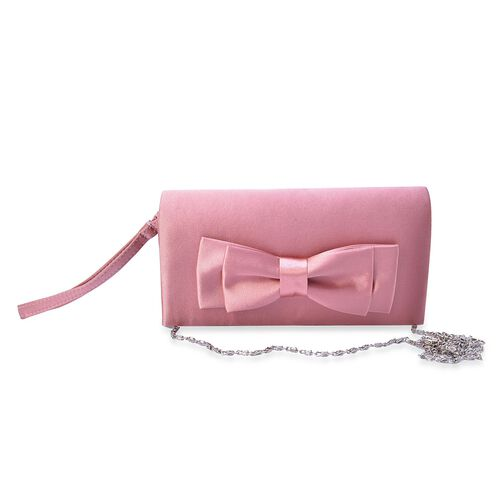 Pink Satin Bow Clutch with Removable Chain Strap (Size 30x10 Cm)