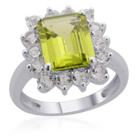 Hebei Peridot (Oct 3.00 Ct), White Topaz Ring in Platinum Overlay Sterling Silver 3.840 Ct.