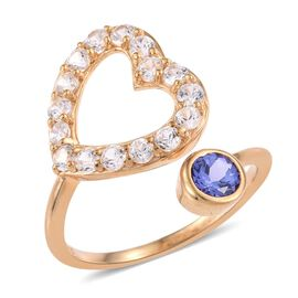 Tanzanite (Rnd 1.15 Ct), Natural Cambodian Zircon Ring in 14K Gold Overlay Sterling Silver 1.500 Ct.