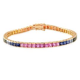 9K Y Gold AAA Rainbow Sapphire (Princess) Tennis Bracelet (Size 7.5) 12.500 Ct. Gold Wt 8.20 Gms