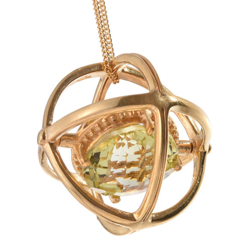 Checkerboard Cut Natural Green Gold Quartz (Rnd) Galaxy Pendant With Chain in 14K Gold Overlay Sterling Silver 5.750 Ct.