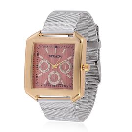 STRADA Japanese Movement Wood Pattern Golden Colour Dial Water Resistant Watch in Gold Tone with Stainless Steel Back and Chain Strap