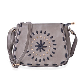Dark Grey Colour Middle Size Crossbody Bag With Adjustable Shoulder Strap (Size 25x19x8 Cm)