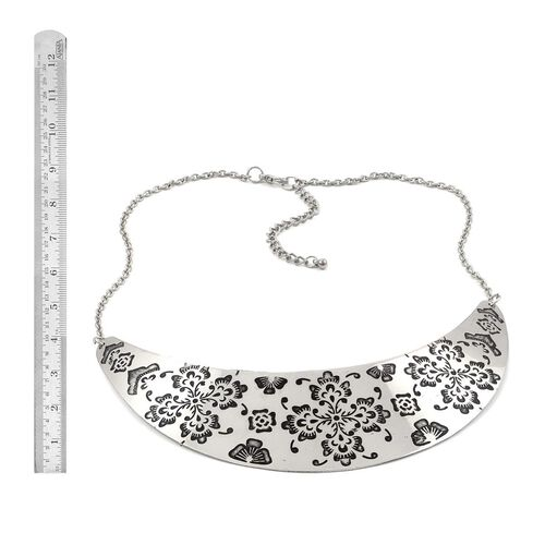 Jewels of India Hand Engraved Necklace (Size 16) in Silver Tone