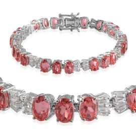 Padparadscha Colour Quartz (Ovl), White Topaz Bracelet in Platinum Overlay Sterling Silver (Size 7.5) 26.000 Ct.