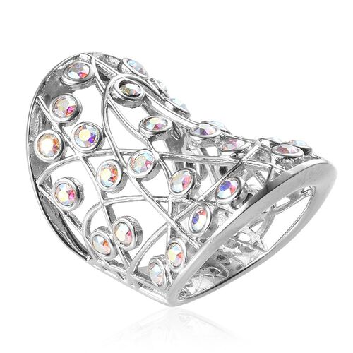J Francis Crystal from Swarovski - AB Crystal (Rnd) Ring in Platinum Overlay Sterling Silver