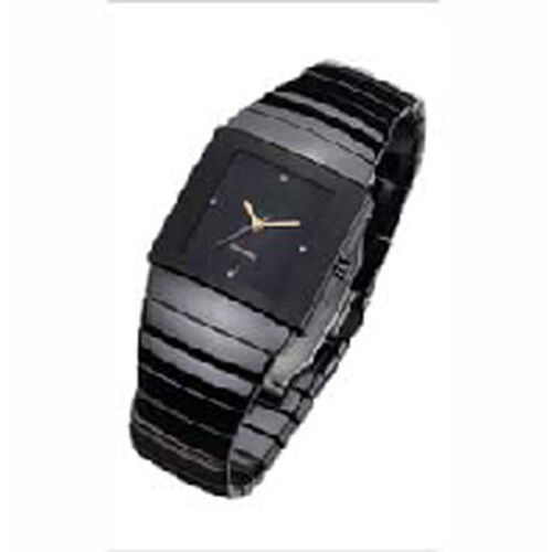 High Tech. Black Ceramic Japanese Movement Sapphire Crystal  Simulated Diamond Watch  0.200  Ct.