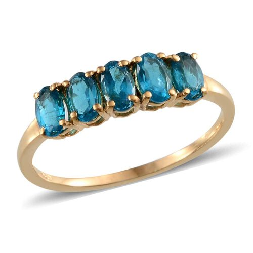 Malgache Neon Apatite (Ovl) 5 Stone Ring in Yellow Gold Overlay Sterling Silver 1.000 Ct.