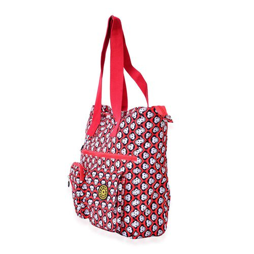 Red Colour Monkey Pattern Waterproof Tote Bag with External Zipper Pocket (Size 37x36x10.5 Cm)