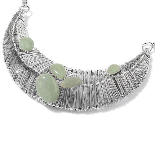 Green Aventurine and White Austrian Crystal Necklace (Size 18 with 2 inch Extender) in Silver Tone