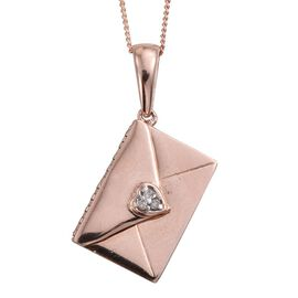 Diamond (Rnd) Envelope Pendant With Chain in ION Plated 18K Rose Gold Bond