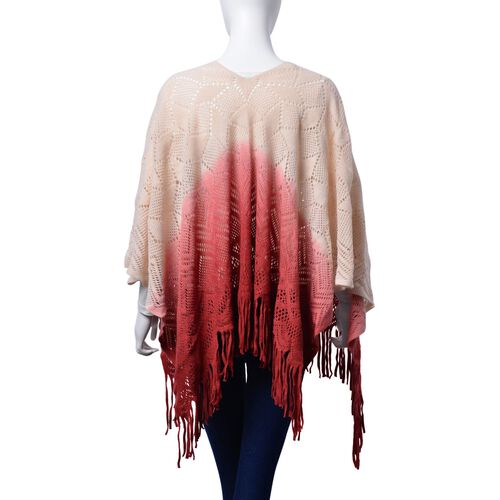 Designer Inspired Peach, Red and Multi Colour Poncho (Size 95x60 Cm)