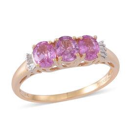 ILIANA 18K Y Gold Pink Sapphire (Ovl), Diamond Ring 1.500 Ct.