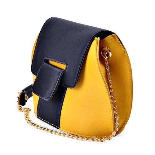 Sofia Sunflower Yellow and Black Colour Block Crossbody Bag with Chain Strap (Size 20x15x10 Cm)