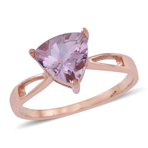 Rose De France Amethyst (Trl) Solitaire Ring in 14K Rose Gold Overlay Sterling Silver 2.250 Ct.