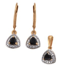 Boi Ploi Black Spinel (Trl), Diamond Pendant and Lever Back Earrings in 14K Gold Overlay Sterling Silver 0.500 Ct.