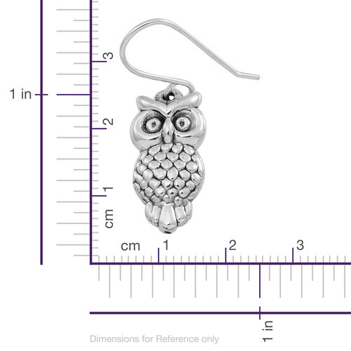 Statement Collection Sterling Silver Owl Hook Earrings