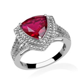 Rubelite Colour Quartz (Trl 3.25 Ct), Diamond Ring in Platinum Overlay Sterling Silver 3.270 Ct.