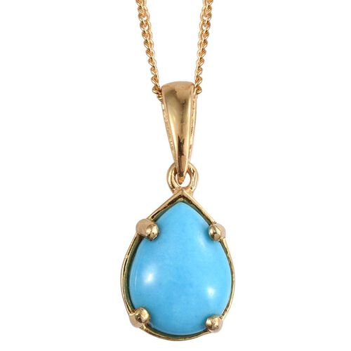 Arizona Sleeping Beauty Turquoise (Pear) Solitaire Pendant with Chain in 14K Gold Overlay Sterling Silver 1.250 Ct.