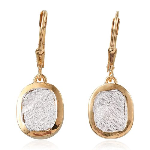 Meteorite (Cush) Lever Back Earrings in 14K Gold Overlay Sterling Silver 13.000 Ct.