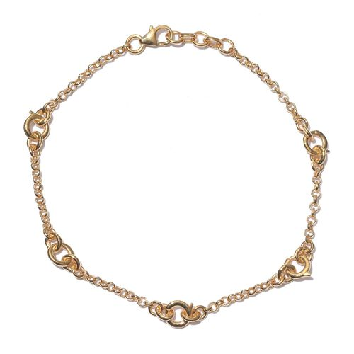 14K Gold Overlay Sterling Silver Bracelet (Size 7.5 with 0.5 Extender), Silver wt 4.00 Gms.