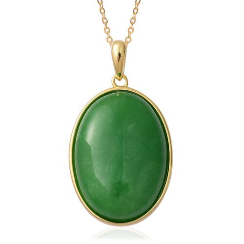Chinese Green Jade (Ovl) Pendant With Chain in Yellow Gold Overlay Sterling Silver 28.250 Ct.