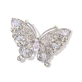 AAA Simulated White Diamond and White Austrian Crystal Butterfly Brooch in Silver Tone