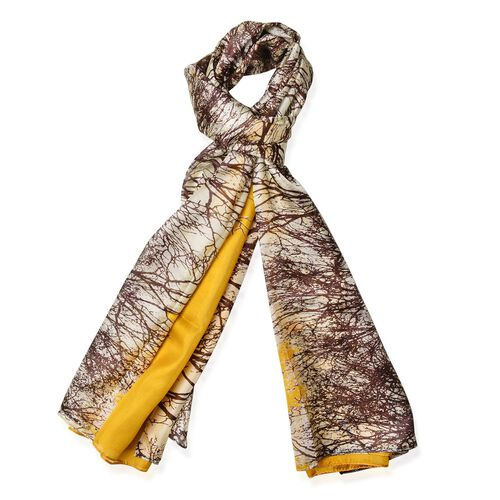 100% Mulberry Silk Grove Pattern Brown, Cream and Yellow Colour Scarf (Size 180x110 Cm)