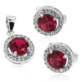 ELANZA AAA Simulated Ruby (Rnd), Simulated Diamond Earrings (with Clasp) and Pendant in Rhodium Plated Sterling Silver