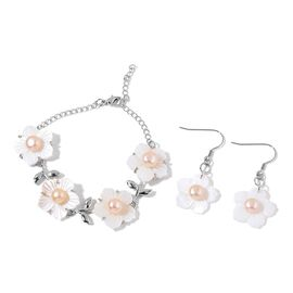 Fresh Water Peach Pearl and White Shell Floral Bracelet (Size 6.5 with 2 inch Extender) and Hook Earrings in Silver Tone with Stainless Steel