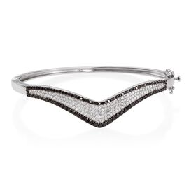 Brand New Black Diamond (Rnd), White Diamond Wishbone Bangle (Size 7.5) in Platinum Overlay Sterling Silver 2.750 Ct.
